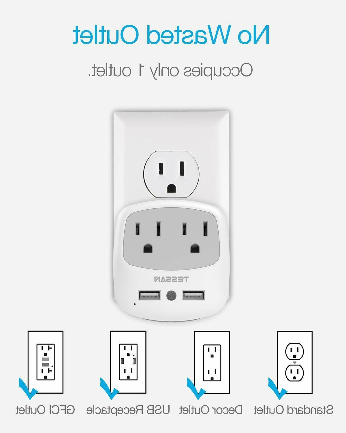 Multi USB Outlet Wall Light