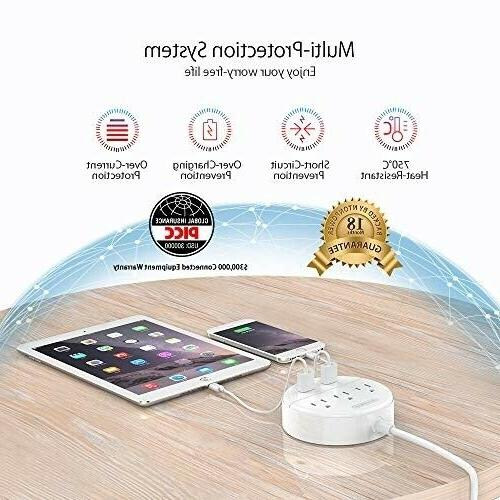 Travel Power NTONPOWER Power Strip 3 Outlet Flat Plug