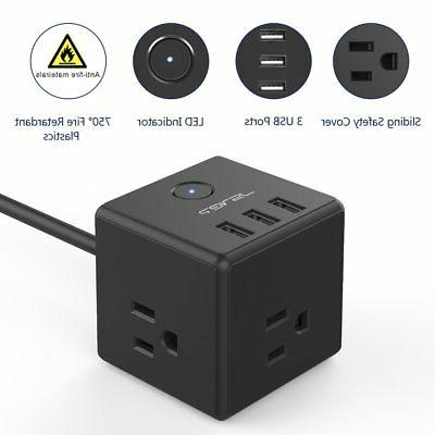 JSVER Power Strip with AC and USB Charging