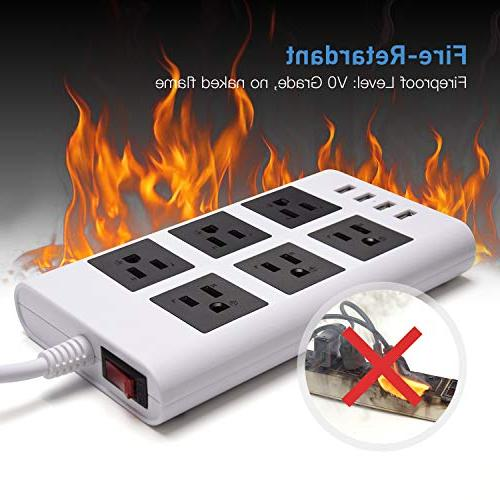 5V Power Strip-JACKYLED Right Plug 9.5ft Long 4 USB Ports 6 Fast Fireproof Computer