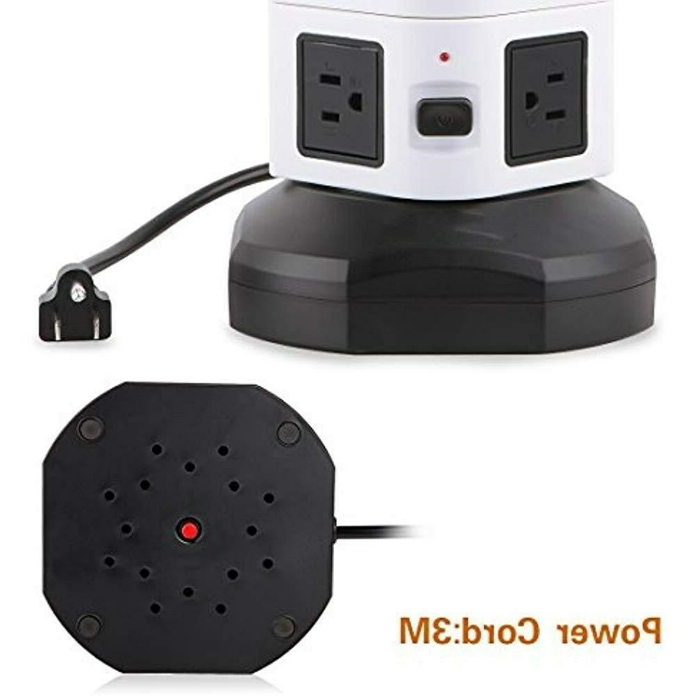 10 Outlet Port Strip Surge Protector Electric Station