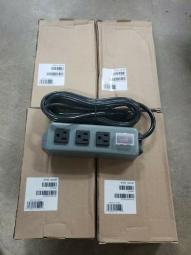 Waber Industrial Power Strip Metal 5-15R 3 Outlet 5-15P 9' C