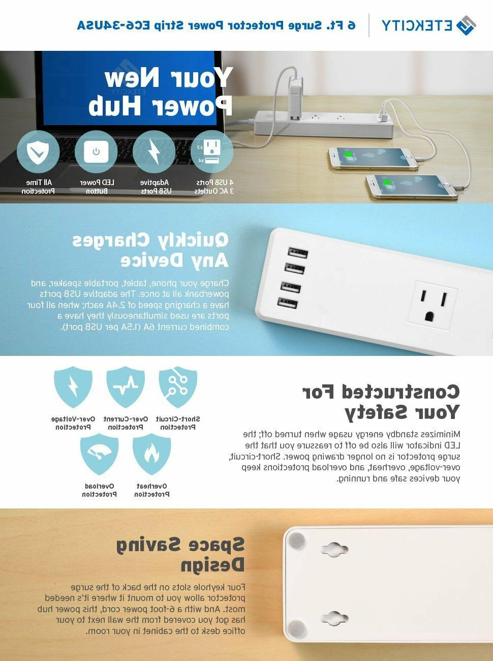 Etekcity Wall Surge Protector 3 Outlets 4Charge Ports