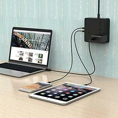 Wall Power Strip USB Charging Station 4 (3 Ft