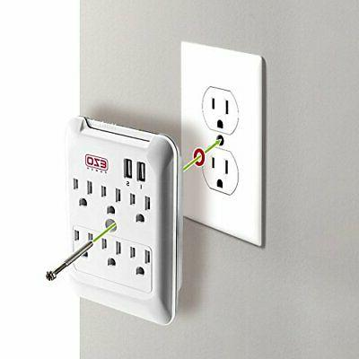 Wall 6 AC Plate Surge with 2