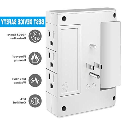 Wall Kasonic Power 6 Outlets Wall-Mount Socket, Power Surge Protection Smart for Home