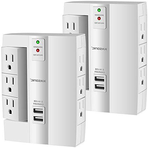 Wall Tap Kasonic Top 6 Outlets 2 USB Ports for Home and