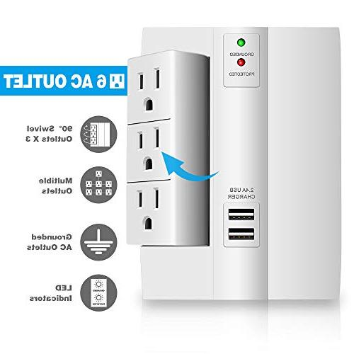 Wall Kasonic Power Strip 6 Outlets 2 Ports Wall-Mount Surge Smart for