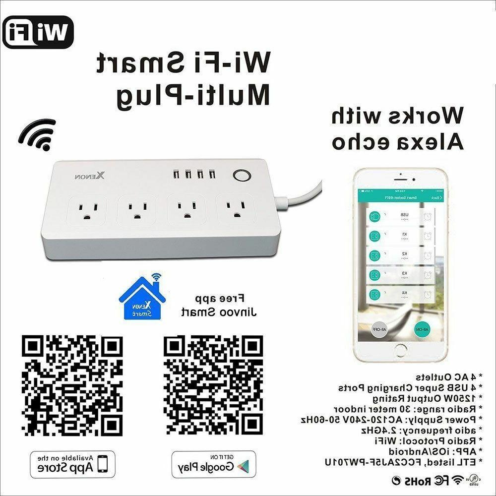 WiFi Smart Power Surge with AC Outlets 4 USB