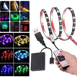 Leimaq USB Battery Powered RGB LED Light Strip with RF Wirel