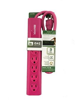 Woods Magenta Pink Surge Protector Power Strip 245 Joules 6