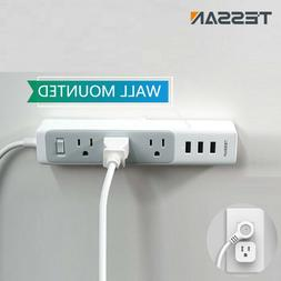Mountable Power Strip with 3 Widely Space Outlets, USB Port,