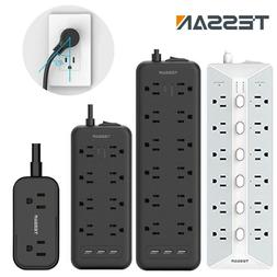 Wall Mountable Surge Protector Power Strip With 3 USB+Flat P