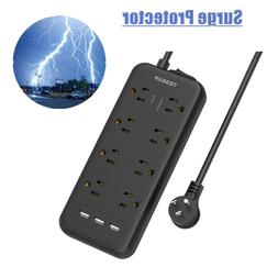 Mountable Surge Protector Power Strip with 3 USB Ports and 5