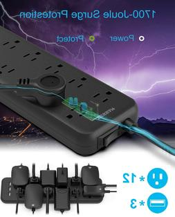 Mountable Surge Protector Power Strip with USB Ports 12 Outl