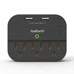 Multi Outlet Wall Plug Adapter with 2 USB Ports, No Surge Pr