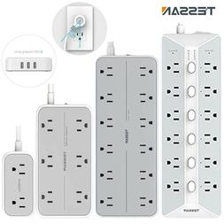 Multi Outlets Flat Plug Power Strip With 3 USB,Surge Protect