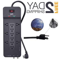 Multi Plug Surge 12 Outlet Power Strip Protector 8 FT Heavy