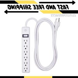 General Electric 6-Outlet Power Strip || 8 Feet || Wall Moun