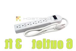 New 6 Outlet Power Strip Bar Surge Protector Protect Electro
