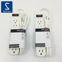 Lot of 2 NEW Belkin 6-Outlet Power Strip with 3-Foot Power C