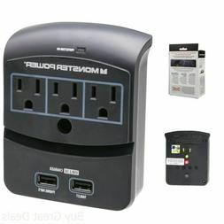 New Monster Power EXP 350 USB Wall Tap Surge Protector 3 Out