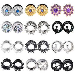 PAIR Gem Ear Gauges Stainless Steel Flesh Ear Tunnels Plugs