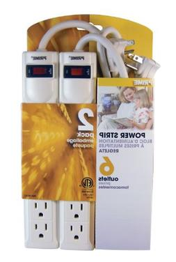 Prime Wire & Cable PB8100X2 6-Outlet Power Strips with 3-Foo