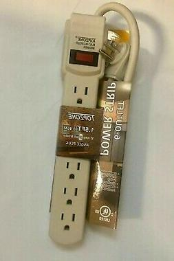 Pink 6-outlet Power Strip By 1.5-foot