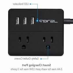 JSVER Portable Desktop Power Strip with 3 USB Smart Charging