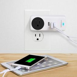 Portable Power Strip AC Outlet 3 USB Charging Wall Charger P