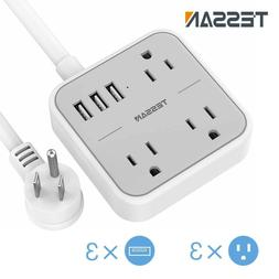 Portable Power Strip with 3 Outlets, 3 USB Ports, 5 Ft Exten