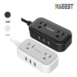 Portable Power Strip with 3 USB Ports 2 AC Outlets Flat Plug