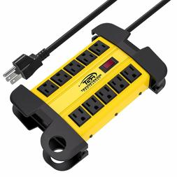CRST Power Strip 10-Outlets Heavy Duty 15ft cord Metal Surge