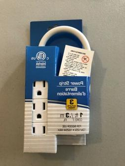 Power Strip 1ft Extension Cord Heavy Duty 3 Prong Multi Elec