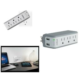Power Strip 3 AC Outlet Surge Protector 2 USB Ports USB Swiv