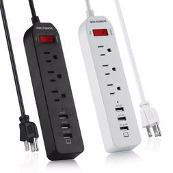 Power Strip Poweradd 3 Outlet 5 Ft Cord Charging Station wit