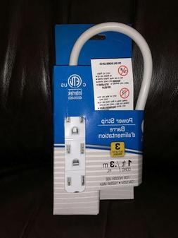 Intertek Power Strip 3 Outlets 1ft/.3M Cord CHEAP Cord with