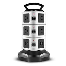 TNP Power Strip with USB Surge Protector - 10 AC Outlet + 4