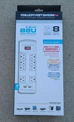 Monster Power Strip 8 Outlet Surge Protector 2 USB Charging