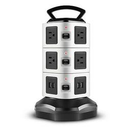 Power Strip with USB Surge Protector - 10 AC Outlet + 4 USB