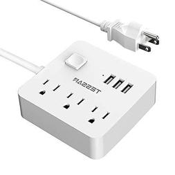 Power Strip 3 USB 3 Outlet, Desktop Charging Station 5 ft Ex