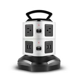 Power Strip with USB Surge Protector - 6 AC Outlet + 4 USB P