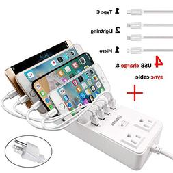 Power Strip with 4 USB Cables, COSOOS 4 USB Charging Station