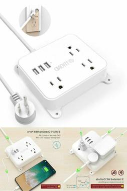Power Strip Flat Plug Outlet 4.5ft Extension Cord 3 USB Port