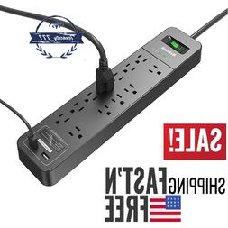 Power Strip Surge Protector 12AC Outlets and 2 Port USB Char