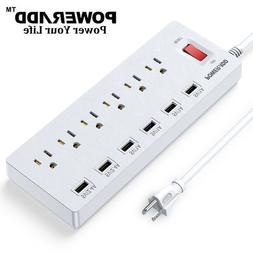 Power Strip Surge Protector 6 Outlets 6 USB Charging Ports &