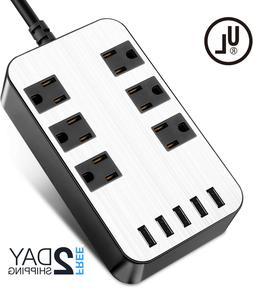 Power Strip Surge Protector 6 Outlets USB Ports Fast Chargin
