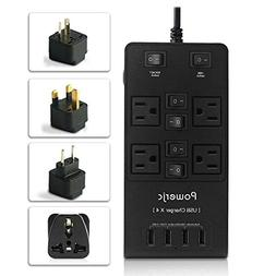 Powerjc Power Strip Surge Protector Smart 4 Outlets & 4 High