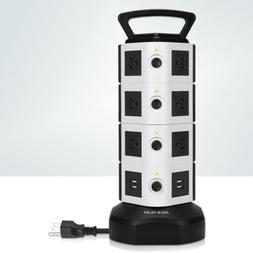 Power Strip Tower 14 Outlets 4 USB 3000W Surge Protector Soc